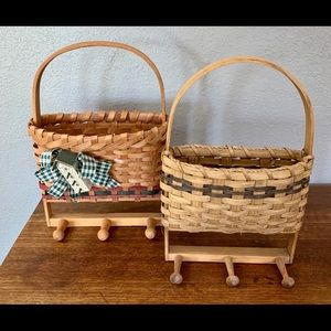 Pair Vintage Handmade Basket Wall Decor With Knobs